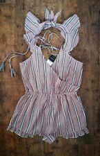 TopShop Cotton Striped Summer Playsuit Jumpsuit Frill Detail size S 8 10 Beach