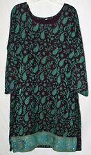 Womens Tunic Dress Purple Green Long Sleeves  Side Slits Gold Embellishments