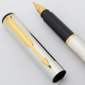 "Parker 88 ""Rialto"" Corinth Fountain Pen - Silver Plated w GT, Medium Steel (New)"