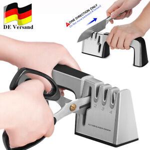 Profi 4-Stufen Diamant Messerschärfer Hand Messerschleifer Für Messer Scheren DE