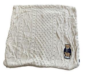 VTG Ralph Lauren Polo Teddy Bear Cream Cable Knit Pillow Cover Zip Up
