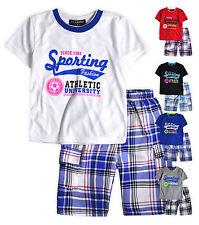 Boys T-Shirt Short Set New Kids Short Sleeved Top Check Shorts Ages 2 - 10 Years