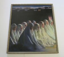VINTAGE JAMES OSORIO PAINTING 40 INCHES ICONIC RELIGIOUS PORTRAIT 1970'S REALISM
