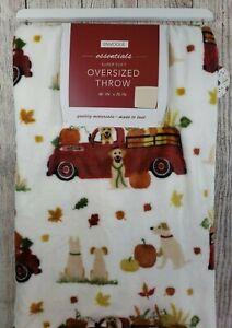 Envogue Fall Red Truck Dogs Throw Blanket Pumpkins Oversized Fleece Plush 60x70