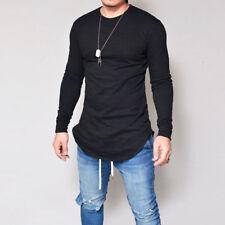 Herren Longsleeve Langarm Shirt Long Oversize T-Shirt Sweatshirt Uni Basic S-3XL