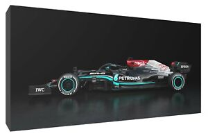 lewis Hamilton Mercedes 2021 F1 car canvas wall art Wood Framed Ready to Hang