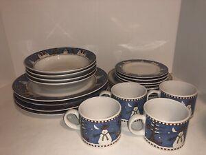 Sakura Debbie Mumm Snowman 20 Piece Dinner Ware Set Plates Bowls Mugs