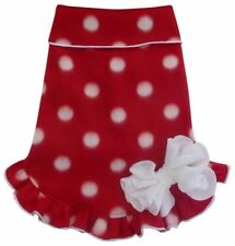 Fleece Pullover Ruffle Hem Dress Holiday Red/White Polka Dot- for Dogs size XS