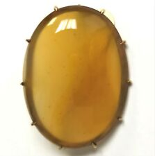 14K Gold Victorian Ambertone Carnelian Agate Stone Pin Brooch Pronged Frame