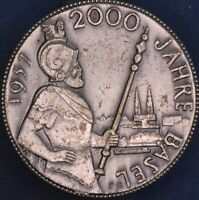 Swiss Switzerland 1957 BASEL 2000 YRS medal medallion pin Felix Muller *[15482]