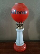 Vintage Small Saloon Kerosene Lamp Orange Globe Made In Japan!