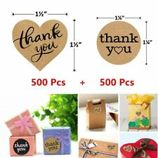 1000 Pack Thank You Adhesive Gift Bag Packaging Stickers Love Heart Round Labels