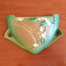 Vintage Roseville Snowberry Art Pottery Wall Pocket Green Brown Floral Flowers