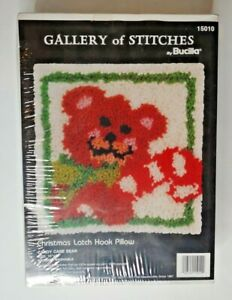 Candy Cane Bear, Christmas Latch Hook Pillow Kit, Gallery of Stitches by Bucilla