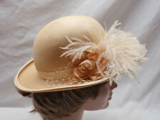 Natural Beige Spiral Straw Bowler Hat Womens Maribou Rose Netting Georgi Medium