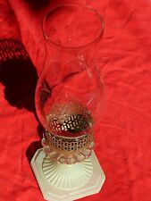 Vintage Jadeite Base HURRICANE LAMP w Glass Hurricane Shade ready To Electrify