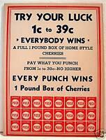 1950 Fun Mfg Punch Board Promo Sales Sheet Naperville