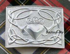 KILT BELT BUCKLE IRISH CLADDAGH DESIGN CHROME FINISH by GlenEsk HIGHLANDWEAR NEW