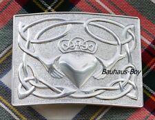 KILT BELT BUCKLE IRISH CLADDAGH DESIGN CHROME FINISH by GlenEsk HIGHLANDWEAR NEW