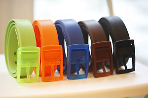NEW Men's Womens Unisex Plain Smooth Silicone Rubber Leather Belt Plastic Buckle