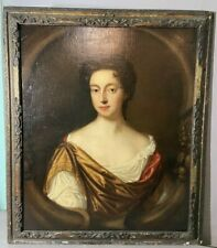 18thC Antique 1700's LADY GODDESS Oil PORTRAIT PAINTING Old WOOD Gesso FRAME
