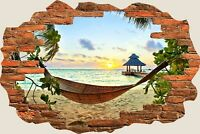 3D Hole in Wall Exotic Ocean Beach View Wall Stickers Film Decal Wallpaper 405