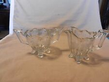 Clear Cut Glass Creamer & Sugar Set With Etched Flowers and Handles