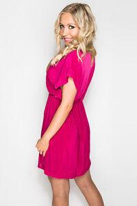 Deep-V Magenta Hot Pink Fuchsia Summer Bikini Beach Dress Casual V-Neck