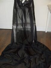 EXTRA LONG BLACK VOILE NET CURTAINS +TIES  2 MATCHING PAIRS DRAMATIC DESIGN