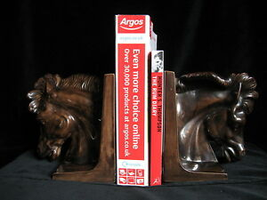 Pair Signed Vintage Ceramic Horse Head Bookends - equestrian sport gift idea
