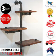 Industrial Pipe Shelf DIY Floating Décor Three Tier Adjustable Rustic Shelving