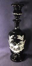 Bohemian snow glass cologne bottle heron stork black amethyst b3
