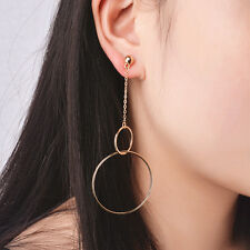 Women Bohemia Long Pendant Exaggeration Gold Silver Alloy Round Dangle Earrings