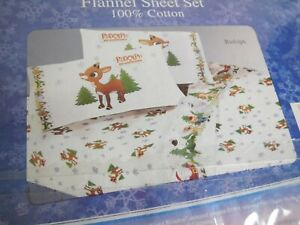 Rudolph the Red Nosed Reindeer QUEEN Cotton Flannel Sheet Set Kids Christmas NEW