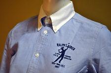 Ralph Lauren Womens Blue Label Blue White Crested Oxford Dress Shirt Sz 6