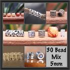 30 (5mm hole) DREADLOCK BEAD MIX - 5 Wooden - 10 Tibetan - 10 Metal - 5 Acrylic
