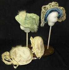 4 silk hats FOR ANTIQUE DOLL, DOLL CLOTHES, DOLL BONNETS