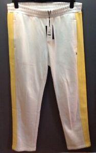 New Tommy Hilfiger XXL Lewis Hamilton Tracksuit Bottoms White Yellow Stripe $139