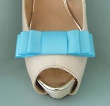 2 Handmade Turquoise Triple Bow Clips for Shoes - other colours on request