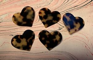 Gorgeous Tortoise Shell Heart Shaped Buttons RARE Find Gemma Kahng
