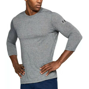 Under Armour UA Threadborne Utility Novelty Grey Mens 3/4 Sleeve Sports Top S