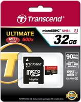 Transcend microSDHC Ultimate 600x 32GB + Ad 32 GB UHS-1 TS32GUSDHC10U1 Micro OVP