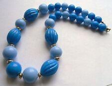 collier perles fantaisies bijou rétro années 1970 résine bleu 2 tons or *C1
