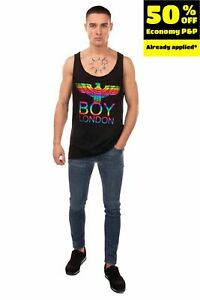 BOY LONDON Vest Top Size M Coated Front Raw Edges Dipped Hem Made in Italy