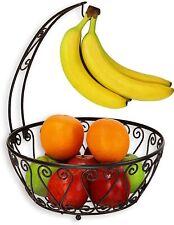 Fruit Basket Bowl with Banana Tree Hanger, Bronze
