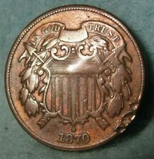 1870 Two Cent Piece Better Grade Details United States Type Coin