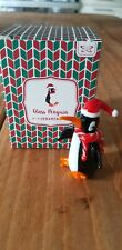 Christmas Glass Black and White Penguin Ornament Boxed