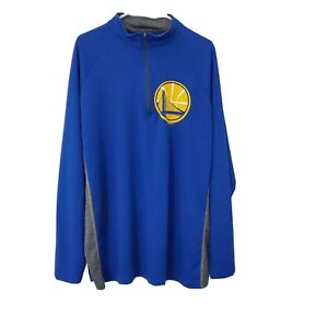 NBA Golden State Warriors Mens Quarter Zip Pullover Track Jacket Blue XL GSW