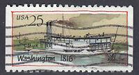 USA Briefmarke gestempelt 25c Washington 1816 Schiff Boot aus Markenheft / 321