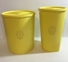 Vintage Tupperware Yellow Canisters With Lids 1339-2 & 1222-3